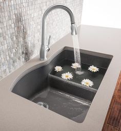 BLANCO DIAMOND 1-3/4 Bowl with Low Divide - SILGRANIT sink in cinder.