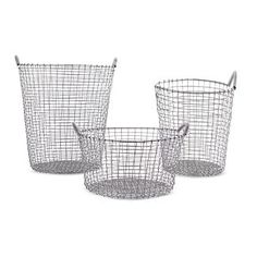 Baskets for blankets, pillows, yarn, cat toys, plastic bags.