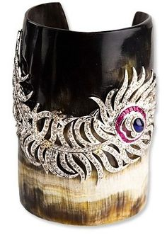 Boho chic Cuff horn, diamonds and precious stones