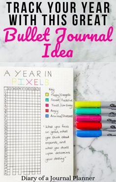 Track your whole year with this fantastic 'A Year in Pixels' bullet journal idea! This great year-long mood tracker will allow you to see a whole year of emotions! Bullet Journal Yearly Spread, Bullet Journal Contents, March Bullet Journal, Bullet Journal For Beginners, Bullet Journal Hacks, Bullet Journal How To Start A, Bullet Journal Layout, Bullet Journal Inspiration, Bullet Journals