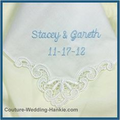 This elegant wedding handkerchief can be personalized for the perfect something blue for bride:  * Features a gorgeous venice lace motif on one corner * Measures 11 x 11 inches square * 100% ultra soft cotton * Handkerchief available in white OR IVORY * All embroidery is centered in the corner of the handkerchief * Machine wash / dry delicate  Personalization shown in light blue thread and Lettering Style Script-Manila.  +++++++++++++ PLACING YOUR ORDER +++++++++++  ~ Listing includes up...