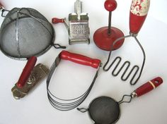 Red Kitchen UtensilsReduced Price by AuntDedesBasement on Etsy, $30.00