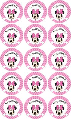 Disney Minnie Mouse pink Birthday party cupcake toppers