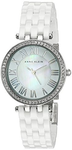 Anne Klein Womens AK2201WTSV Swarovski Crystal Accented White Ceramic Bracelet Watch ** More info could be found at the image url.