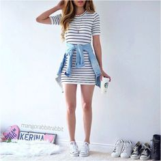 34 The Best T-Shirt Dress Outfit Ideas For Fall Season - Tragically, the art of the dress has turned into the latest casualty in our advancing adoration for everything easygoing. Dresses are going the method. Outfit Ideas For Teen Girls, Cute Casual Outfits For Teens, Casual Clothes, Cheap Clothes, Striped T Shirt Dress, T Shirt Dresses, Flannel Dress, Sheath Dresses, Striped Tee