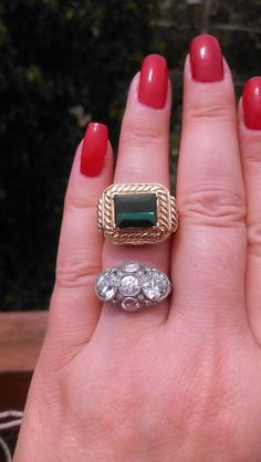 Vintage 14k Gold  4.3ct  Green Tourmaline  by MADAMECKERSON, $1600.00