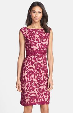 Adrianna Papell Lace Overlay Sheath Dress | Nordstrom