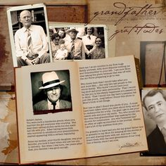 [Grandfather Gratitudes ~ Scrap a page in a letter format to an ancestor describing their life and what you share...love this idea!] Nice how the text is placed on an open book.