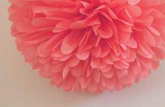 Coral Tissue Pom Pom .. Wedding Decoration / Bridal by PartyPoms, $1.75