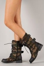 Lug-12 Camouflage Military Lace Up Boot $36.40 #lovethese