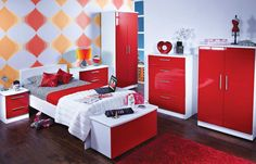 attractive red bedroom furniture create elegant view around bedroom high gloss red bedroom furniture modern teens bedroom design