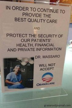 Obamacare - ask any healthcare provider and they will tell you Obamacare is neither affordable or good for you or the industry.