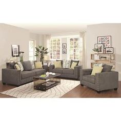 Kelvington Tuxedo Sofa in Grey & Love seat