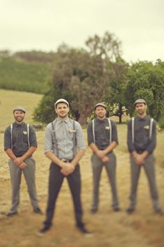 Aussie groom and groomsmen in suspenders. Oh.My.God. This is how my future husband will look on my wedding day!!!!