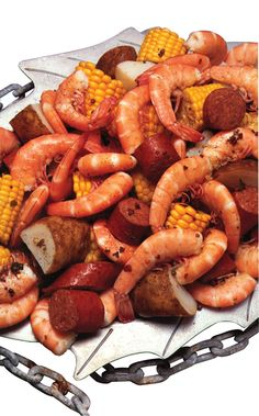 Farmer's Seafood Boil. Great for football watching parties. Next morning, chop up the leftover shrimp, potatoes, sausage and onions, scramble with eggs and make Cajun breakfast tacos!