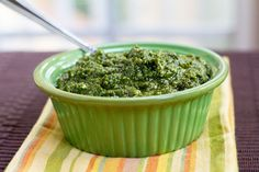 Spinach Basil Pesto. Pesto delicious; Spinach healthy! Almonds instead of pine nuts???