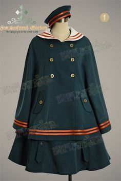 Military Lolita Sailor Collar cape from Fanplusfriend Lolita Cosplay, Lolita Fashion, Couture Fashion, Fashion Beauty, Moda Lolita, Kawaii Clothes, Lolita Dress, Gothic Lolita, Ideias Fashion