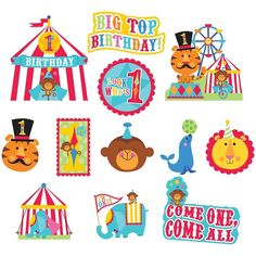 1st Birthday Circus Cutout Value Pack | 12ct