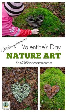 Make your own Valentine's Day Nature Art. Land art is an excellent way for children to connect with nature and a reason to get outside this Valentine's Day! This fun nature activity is great for kids and adults alike. From Rain or Shine Mamma. PLUS links Fun Outdoor Activities, Nature Activities, Outdoor Learning, Learning Activities, Outdoor Crafts, Outdoor Play, Preschool Activities, Valentines Day Activities, Valentines For Kids