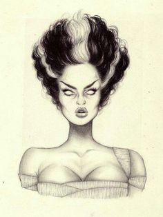 Bride of frankenstein cartoon drawing