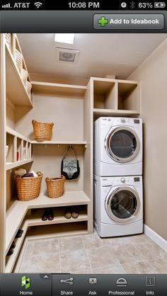Laundry room/mud room idea. I love stacking the Front loader washer and dryer to create more space and the built ins.