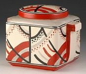 Andrew Muir   Clarice Cliff, Art Deco Pottery, Red Carpet Stamford Box, 1930