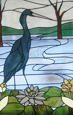 Heron stained glass