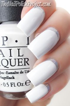 ruffian manicure - using OPI Alpine Snow and Color Club Harp On It