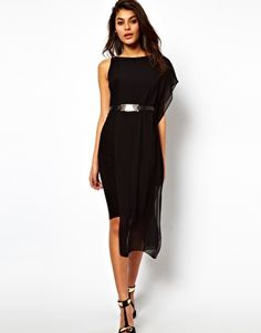 Belted Bodycon Dress with Chiffon Drape