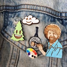 Bob Ross Happy Little Accidents Pin Pack Support PBS Cute