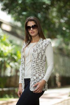 Colete Mesclado Marrom e Bege – Fio Cisne Kate – Bazar Horizonte  O Blog do fd42657d1cd