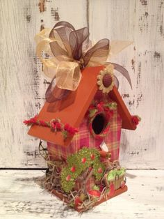 APPLE FARM with Sunflowers  Handmade Wood by BirdhouseGiftGallery, $15.00
