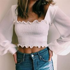 Lettuce Trim White Chiffon Tops and Blouse Women Lantern Sleeve Stretchy Slim Casual Crop Top Sweet Summer Shirts Blouse Crop Top Outfits, Cute Casual Outfits, Stylish Outfits, White Crop Top Outfit, White Long Sleeve Shirt Outfit, Long Shirt Outfits, Look Fashion, Fashion Outfits, 80s Fashion