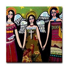 50 off  Angel Art Tile Ceramic Coaster Mexican por HeatherGallerArt