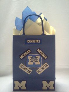 Handcrafted Blue & Gold Michigan Sports Teams University/College Gift Bag #Michigan #Gifts #SportsLover #GoBlue #GiftBags #Christmas #Sports