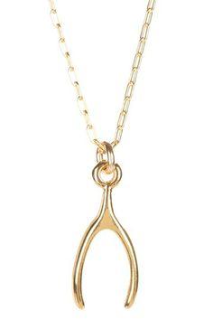 MRE Jewelry: Gold Wishbone Charm Necklace  #hautelook #wishbone #gold