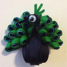 Mr. Peacock ribbon sculpture hair clip!