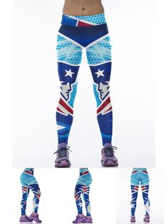[Visit to Buy] Woman Yoga Pants Fitness Fiber Sport Leggings New England Patriots Sports Tights Trousers Exercise Training Clothing Sportswear #Advertisement