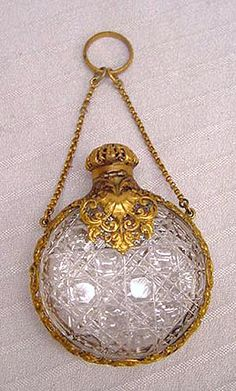"""Antique Cut Glass Perfume Flask with Filigreed Gold Ormolu Mounts on Finger Ring or Chatelaine Chain. 2-5/8"""""""
