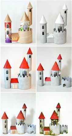 diy cardboard crafts DIY Make a Cardboard Castle from Recyclable Materials: Build an impressive toy castle out of packing tubes, potato chips containers and paper towel rolls! Fun craft for kids who are not knights and history. Cardboard Rolls, Cardboard Castle, Diy Cardboard, Cardboard Playhouse, Cardboard Furniture, Cardboard Recycling, Cardboard Box Ideas For Kids, Recycled Furniture, Handmade Furniture