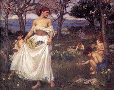 A Song of Springtime - Waterhouse John William Date: 1913 Style: Romanticism Genre: genre painting