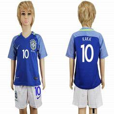 2016 Brazil Team KAKA #10 blue kid soccer jersey away