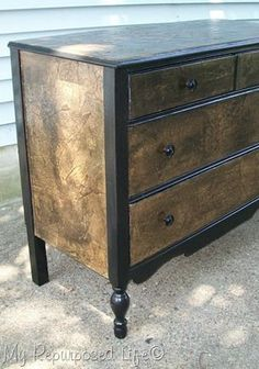 Brown paper bag decoupaged night stands - My Repurposed Life™️