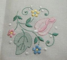 Punto de sombra. Vintage Madeira Embroidered Buff Linen Tablecloth 12 Napkins Rosebuds 64x102 | eBay