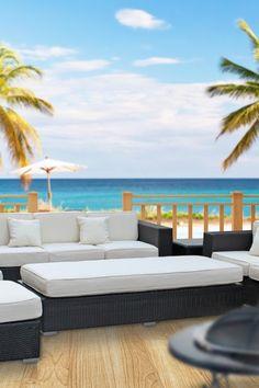 California Modern Classics  Maui 9-Piece Outdoor Living Set - Espresso/White
