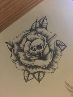Rose Drawing Tattoo, Tattoo Design Drawings, Skull Tattoo Design, Tattoo Sleeve Designs, Tattoo Sketches, Sleeve Tattoos, Skull Rose Tattoos, Skeleton Tattoos, Body Art Tattoos