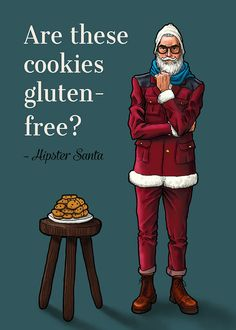 Are these cookies gluten free Hipster Santa by CandidCaleb. Find more on Etsy.com :->