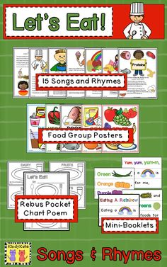 Proteins, Grains, Fruits, Veggies, and Dairy…introduce the basics of nutrition to your young learners with thirteen original songs, chants, and fingerplays. TpT$