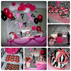 Pink + Zebra Birthday Party #thisdomesticateddiva awesome ideas for nene pink and yellow princess girl baby shower