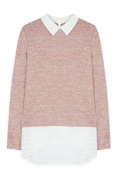 Primark - Jersey 2 en 1 color melocotón con camisa